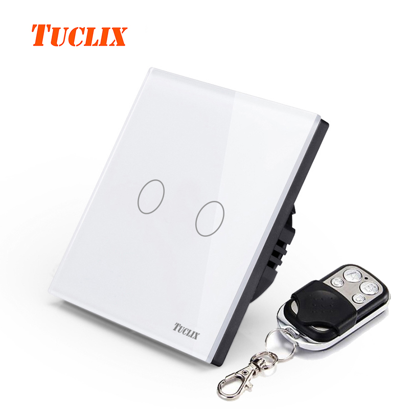 SESOO EU Standard 2 Gang 1 Way Remote Control Touch Switch Remote Wall Light Switch With