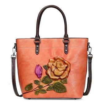 Genuine Leather Shoulder Top Handle Bags Large-Capacity Female Leisure Flower Embossed Natural Skin Women Messenger Shopping Bag