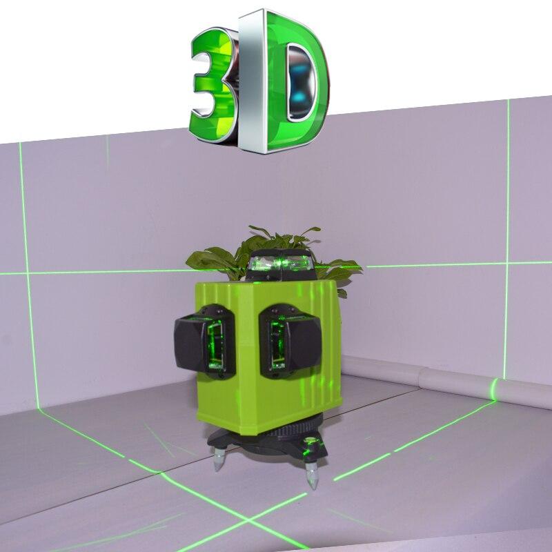 Verde Laser Misuratore di Livello 12 Linhas Verde Verticale di 360 Gradi Linee Super Potente Con Linea Obliqua