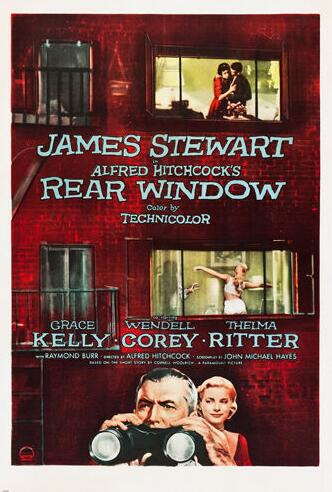REAR WINDOW movie poster HITCHCOCK dir. james STEWART SILK POSTER Decorative painting 24x36inch image