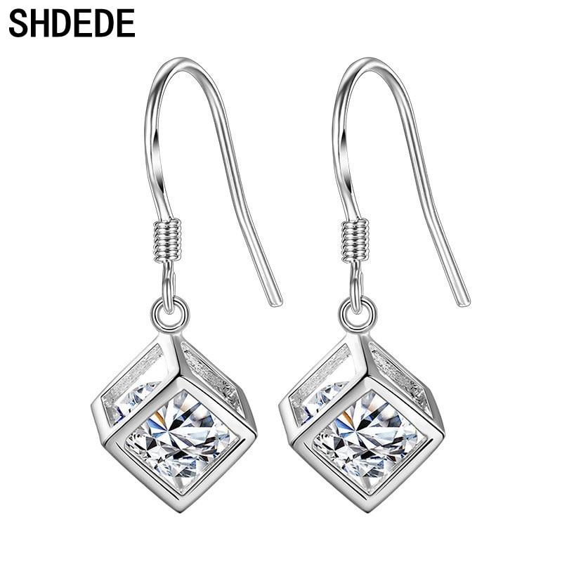 c9efa437d SHDEDE Clear CZ Crystal from Swarovski Square Drop Earrings For Women Cubic  Zirconia Fashion Jewelry Eardrop