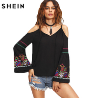 SheIn Ladies Black Embroidered Cold Shoulder Top Autumn New Arrival Women V Neck Long Flare Sleeve