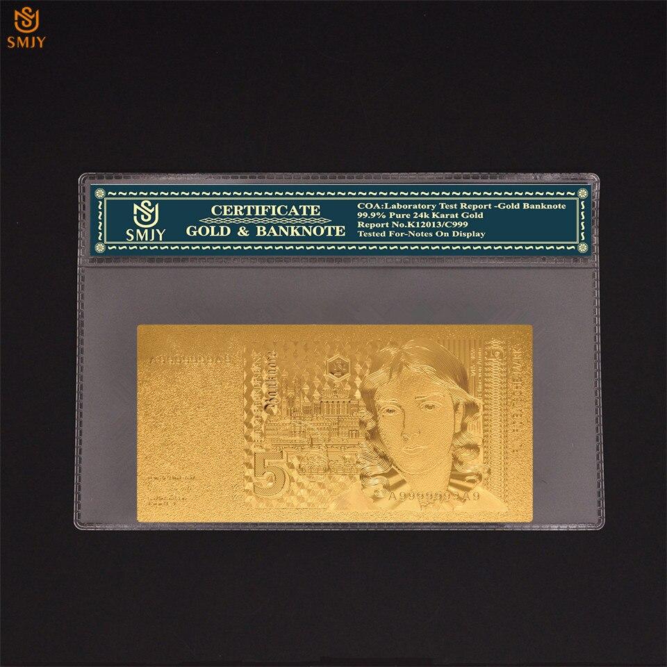 1991 alemanha 24k ouro nota 5 marca réplica alemão cor dinheiro real tamanho com certificado autenticidade