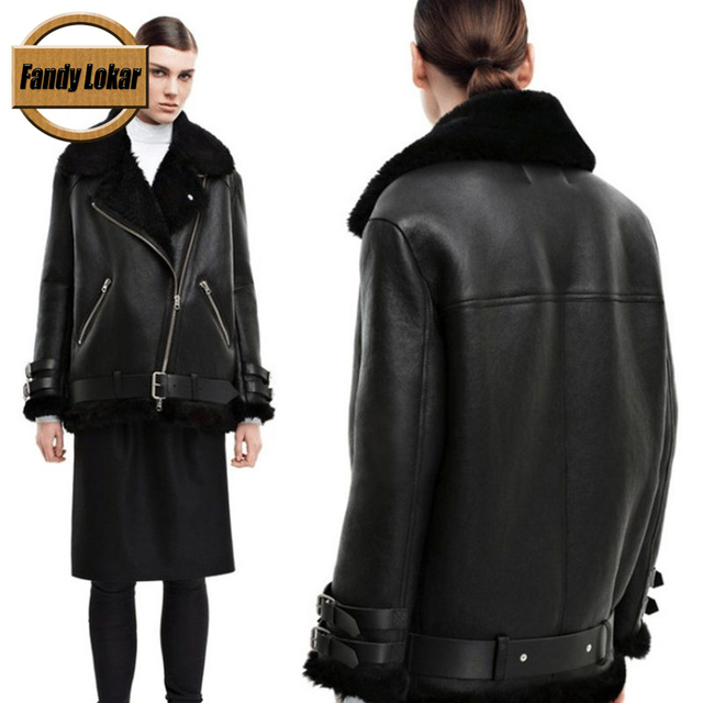 Fandy Lokar Bomber Jacket Genuine Fur Coats For Women Lamb Fur ...