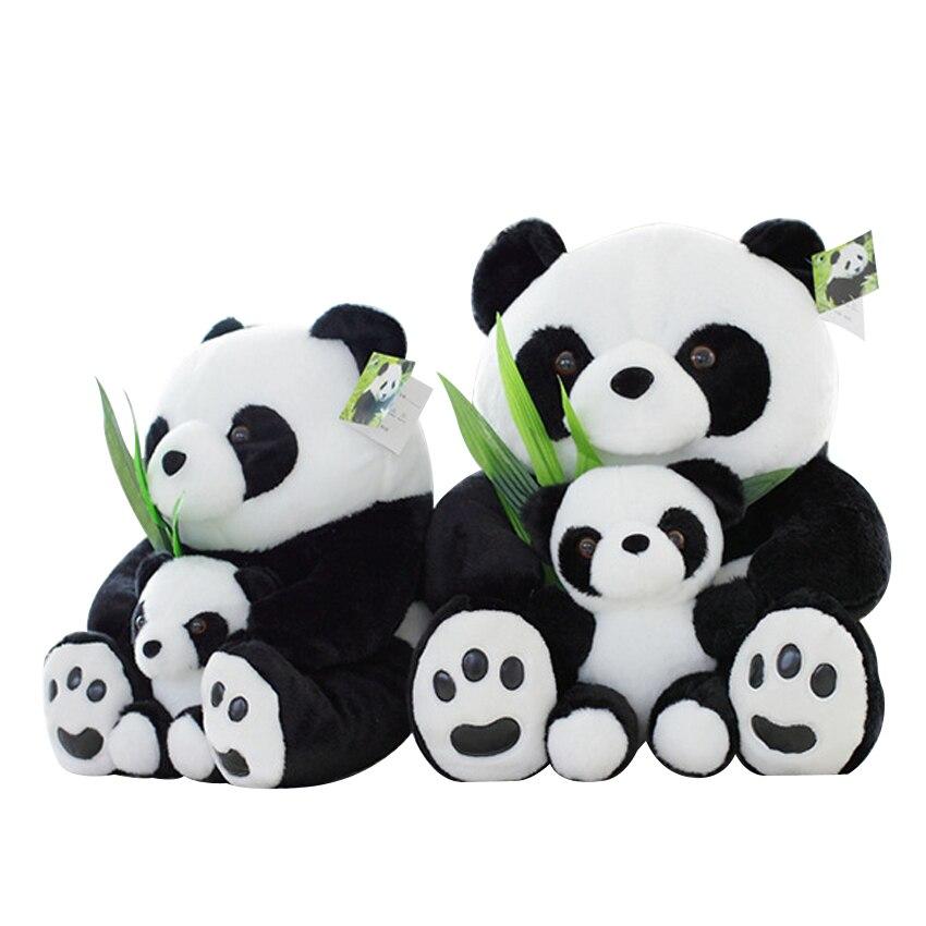 1 Uds 25CM sentado de la madre y el bebé Panda juguetes de peluche muñecos Panda suave almohadas juguetes de los niños de buena calidad envío gratis Lote de 8 unidades de figuras de acción de Panda, Panda, Mini modelo de PVC para niños, juguetes de animales para niños, regalos de cumpleaños