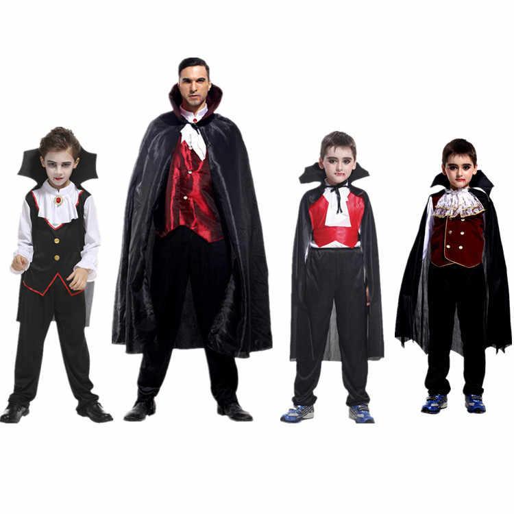Karnaval Parti Cadılar Bayramı Çocuk Çocuk Sayısı Dracula Gotik Vampir Kostüm Fantasia Prens Vampir Cosplay Çocuklar için Yetişkin artı