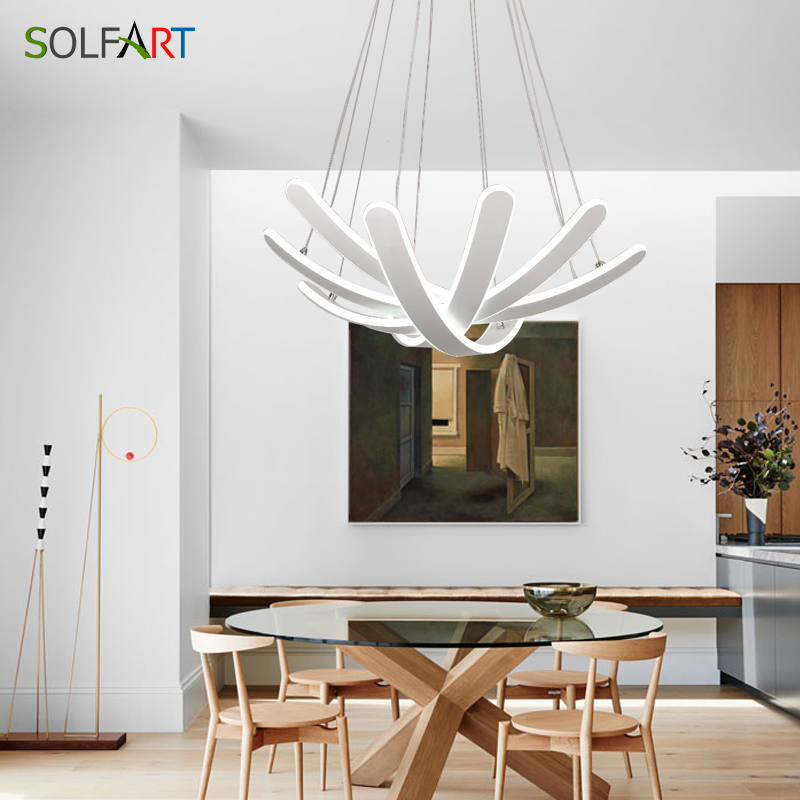 SOLFART LED Lamp Modern Chandeliers With Dimming Light White Pendants Abajur Flesh Suspension Luminaire LampsSOLFART LED Lamp Modern Chandeliers With Dimming Light White Pendants Abajur Flesh Suspension Luminaire Lamps