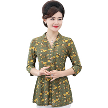 Women Flower Chiffon Blouses Three Quarter Sleeve Crepe Top Woman Peplum Tunic Red Green Print Shirt Plus Size Blouse Lady Shirt цена 2017