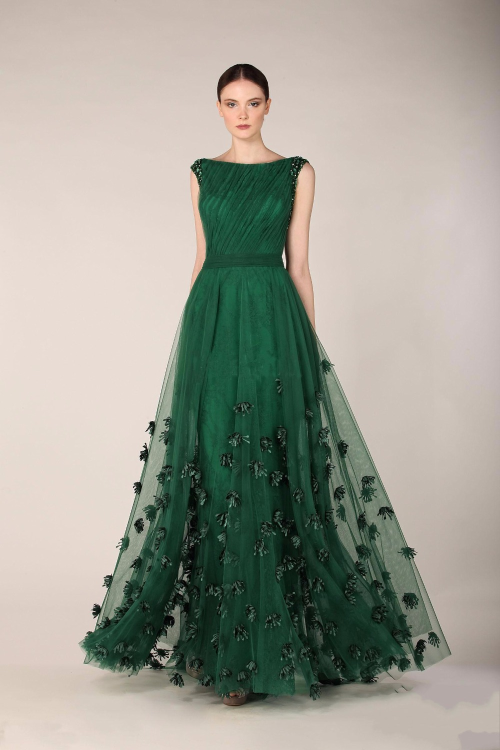 Emerald Green Zuhair Murad Evening Dresses A Line Tulle Cap Sleeve ...