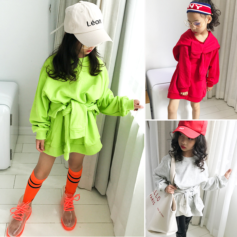 Baby girl cotton sweater 2018 autumn new long children's children's clothing irregular long thick round neck collar shirt stylish cowl neck long sleeves color match batwing irregular design cotton blend sweater for women