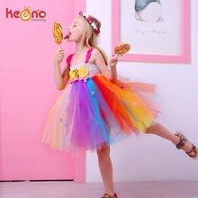 Платье-пачка для девочек с изображением леденца; детское Радужное платье для дня рождения; детская Милая одежда ярких цветов; танцевальное платье для девочек
