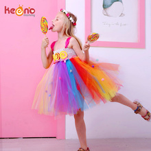 Lollipop Candy Girls Tutu Dress Kids Rainbow Birthday Party Dress Children Sweet Candy Land Outfit Girls Dance Recital Gown