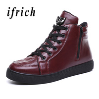 Designer Men Casual Boots Black Wine Red Work Boots for Men Fashion Ankle Martin Boots Lace up Pu Leather Male Comfortable Shoe