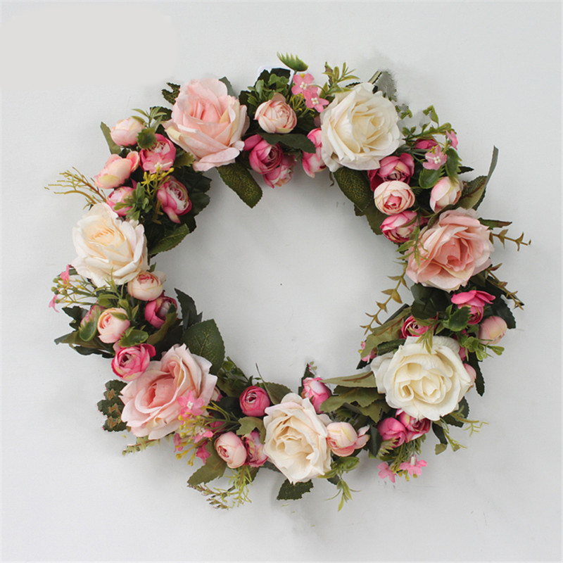 Flower Wreaths For Weddings: Classic Floral Wreath Artificial Simulation Flowers