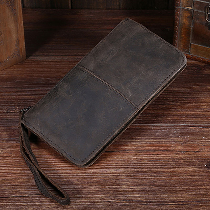 High Quality Men Clutch Bag Wallet Crazy Horse Cowhide Pocket Male Cell Phone Case Pack Retro Genuine Leather Coin Purse new oil wax leather men s wallet long retro business cowhide wallet zipper hand bag 2016 high quality purse clutch bag