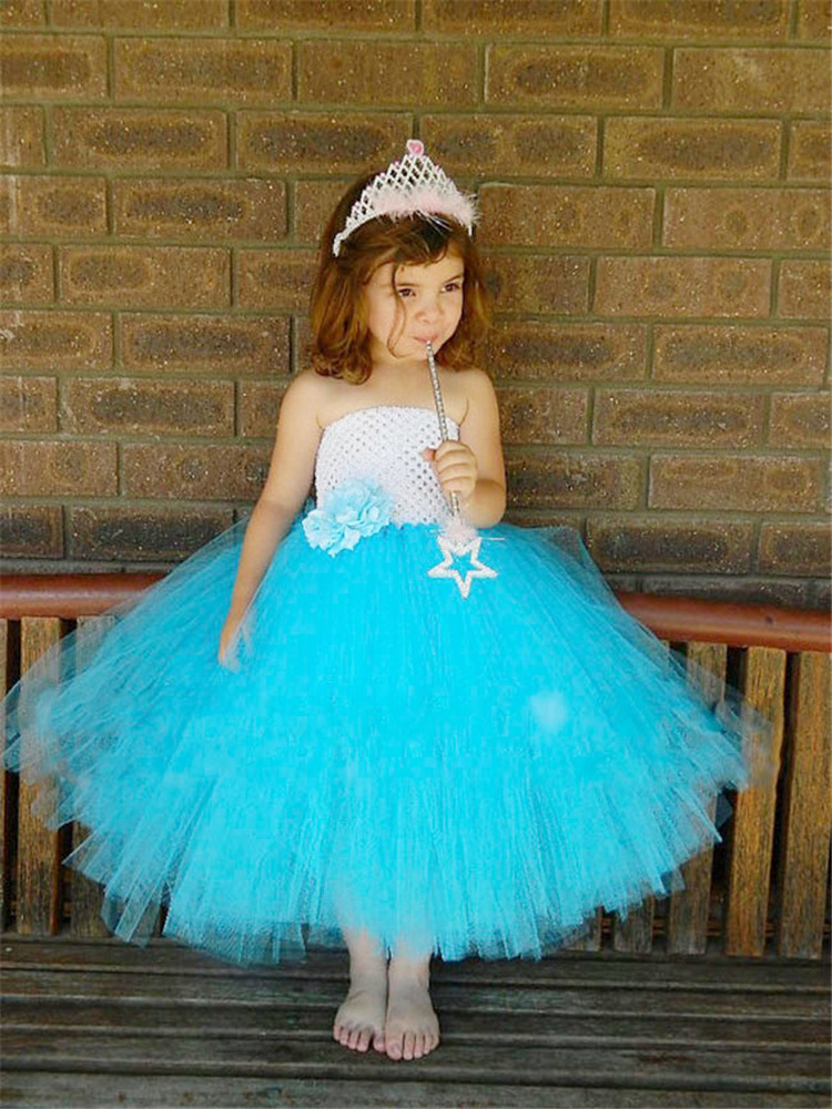 Roztomilé dívky bílé modré háčkování Tutu šaty děti - Dětské oblečení