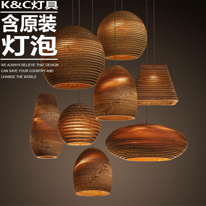 kc lamps creative personality american village naked pupa corrugated kraft paper lampshade. Black Bedroom Furniture Sets. Home Design Ideas