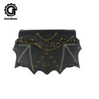 steelsir NEW Rivets Punk Style Hot Fashion Shoulder Bag Brass Rivet Chain Bat Flap Pocket Handbag