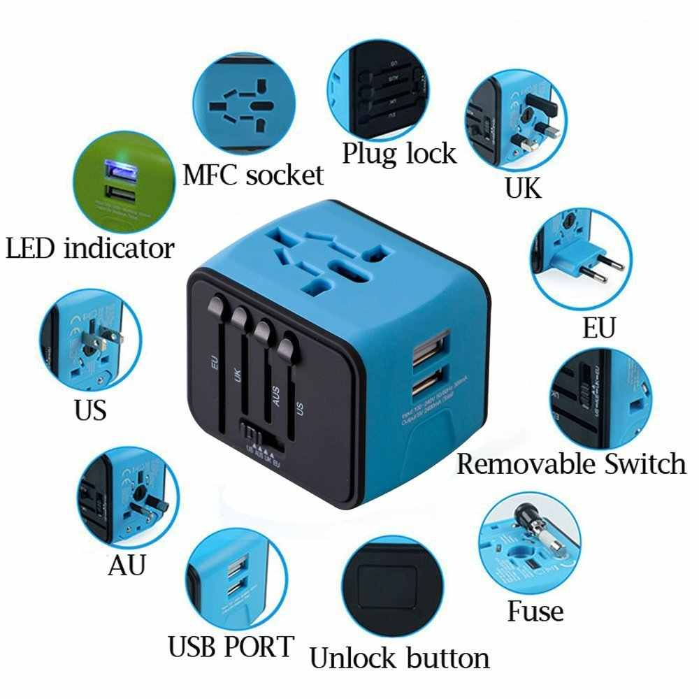 Najdłuższy Dual USB Adapter żelaza-M All-in-do jednego z tych międzynarodowych ładowarka podróżna 2.4A podróży uniwersalny ładowarka ścienna dla z nami, wielkiej brytanii, ue, AU