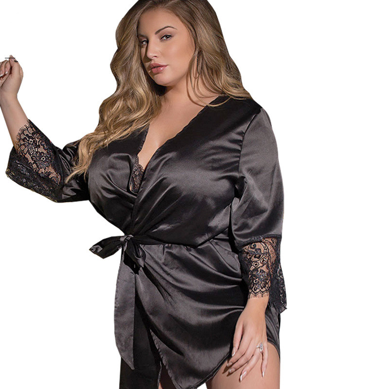 3XL 4XL 5XL Plus Size Women <font><b>Sexy</b></font> Lingerie <font><b>Hot</b></font> Satin Lace Babydoll Sleepwear <font><b>Sexy</b></font> Costumes Night Gown Robe <font><b>Dress</b></font> Erotic Underwear image