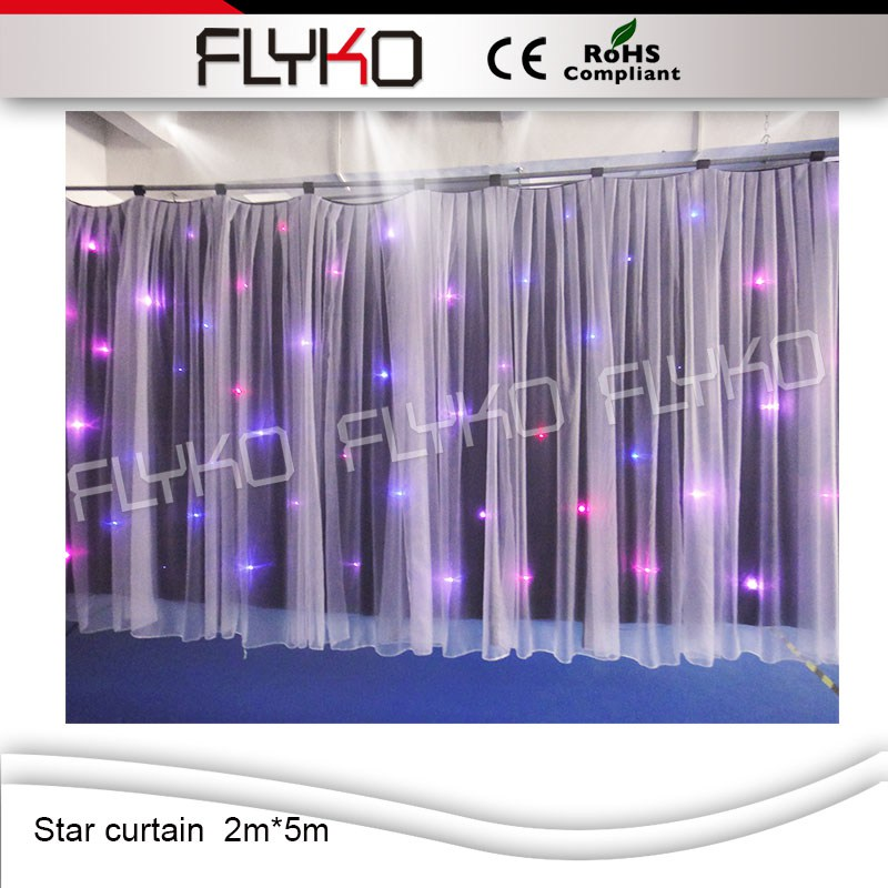 2 meter x5 meter RGB3in1 lights colorful fireproof velvet wedding stage led star curtain decoration DJ wedding backdrop