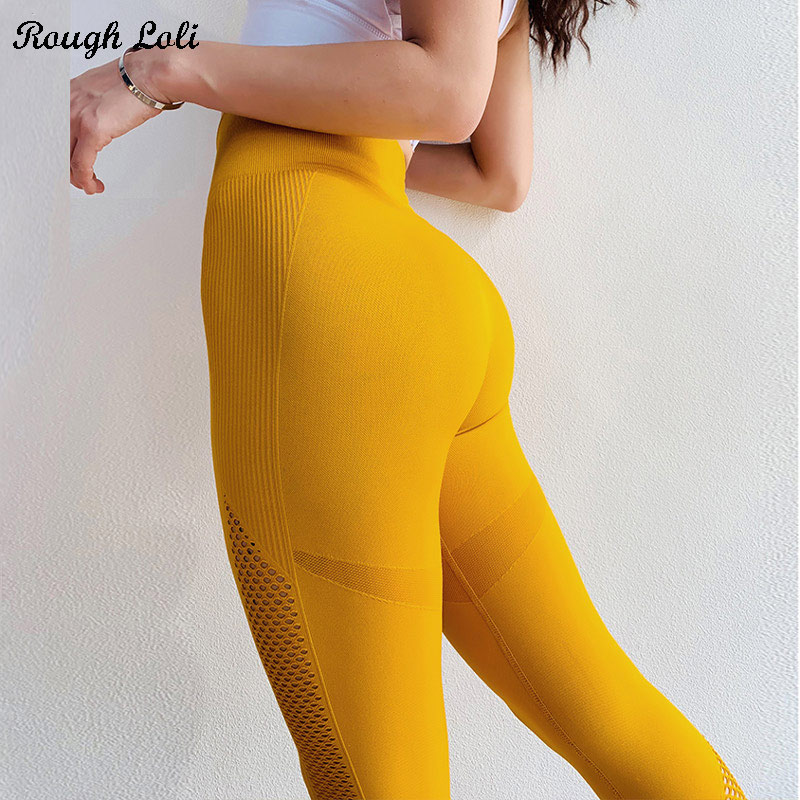 76613967fe Detail Feedback Questions about Women Power Flex Compression Yellow  Seamless Leggings Sport Fitness Gym Running Workout Leggings Scrunch  Stretchy Athletic ...