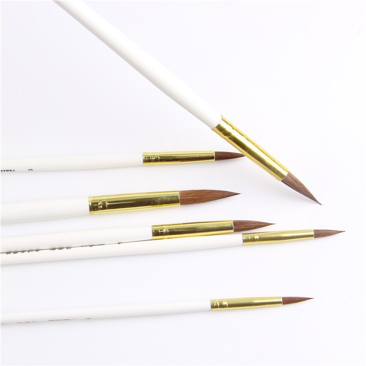 6pcs/Set,Round Tip Kids Watercolor Gouache Painting Pen Horsehair Wooden Handle Paint Brush Set Drawing Art Supplies