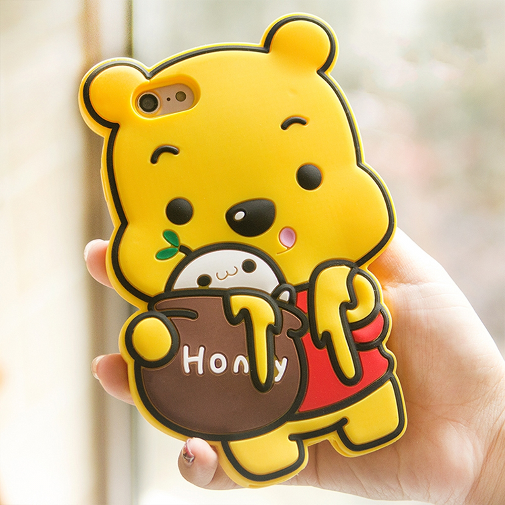 NEW 3D Cute Cartoon Winnie Pooh Case Soft Silicone Rubber Back Cover Case for iPhone XS MAX XR 8 5 5S 6 6S 7 Plus Phone bag winnie the pooh iphone case