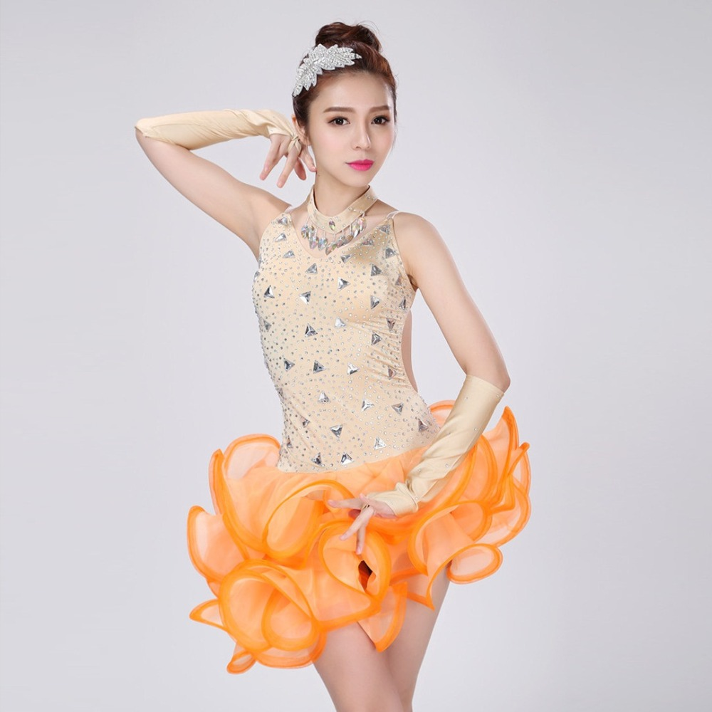 3a56d4281a Kobiety sexy professional Latin konkurs tańca sukienka dostosuj dzieci  pomarańczowy tassel sequined Rumba Samba stroje dla dziewczyn
