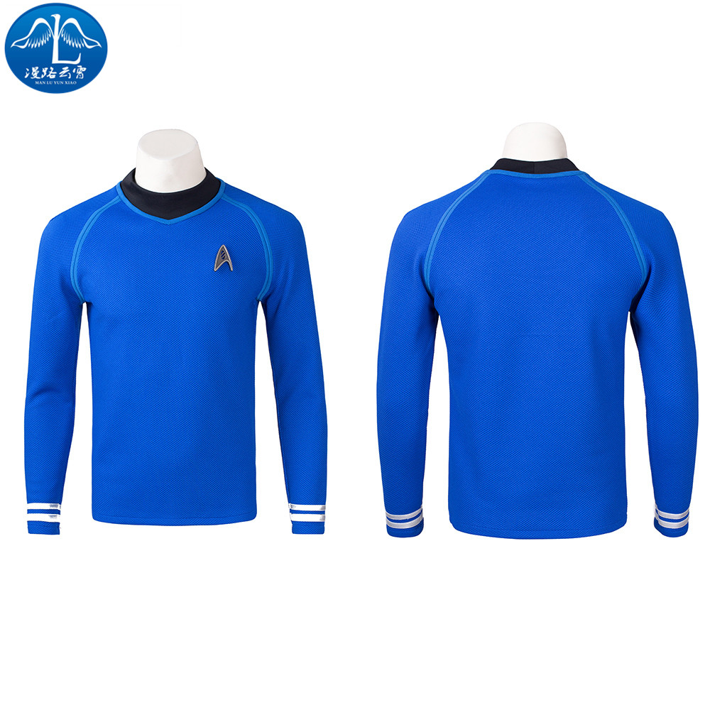 ManLuYunXiao New Fashion Cosplay Blue Star Trek T-shirt Halloween Cosplay Costume For Men Custom Made Any Size Free Shipping