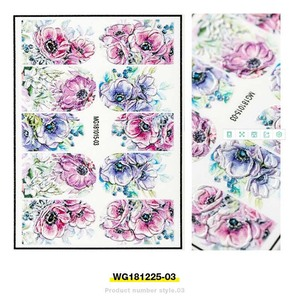 Image 4 - Fashion 3D Stickers Acrylic Engraved Flower Plant Nail Sticker Embossed Flower Nail Water Decals Empaistic Nail Slide Decals
