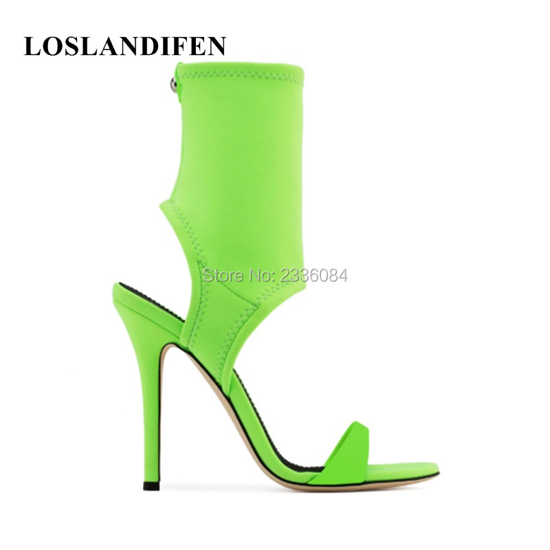LOSLANDIFEN 2018 Brand New Stylish Summer Ankle Boots Stretchy Booties Peep Toes Thin High Heeled Botas Mujer Hot Women Shoes