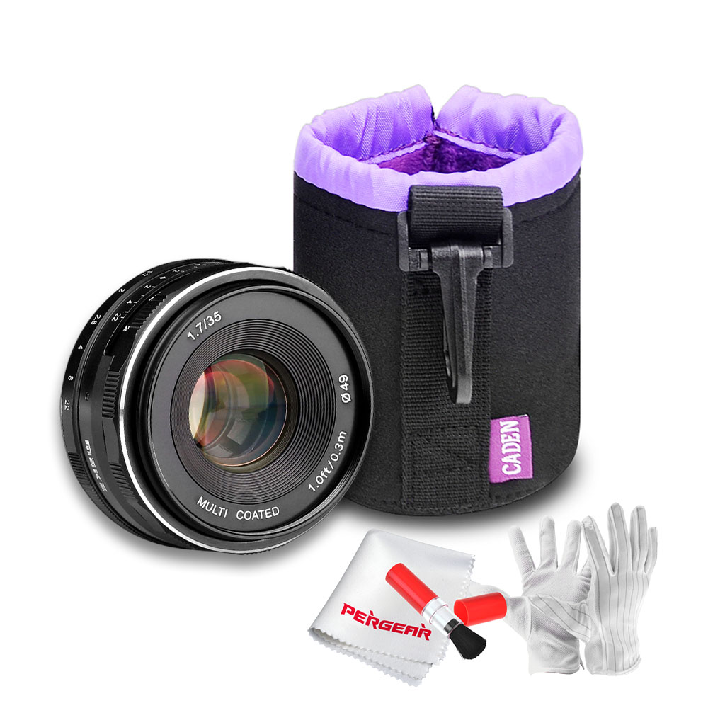 Meike MK-35-1.7 35mm F1.7 APS-C Manual Focus Lens for Sony Mirrorless Cameras with Caden Camera Drawstring Lens Pouch Bag