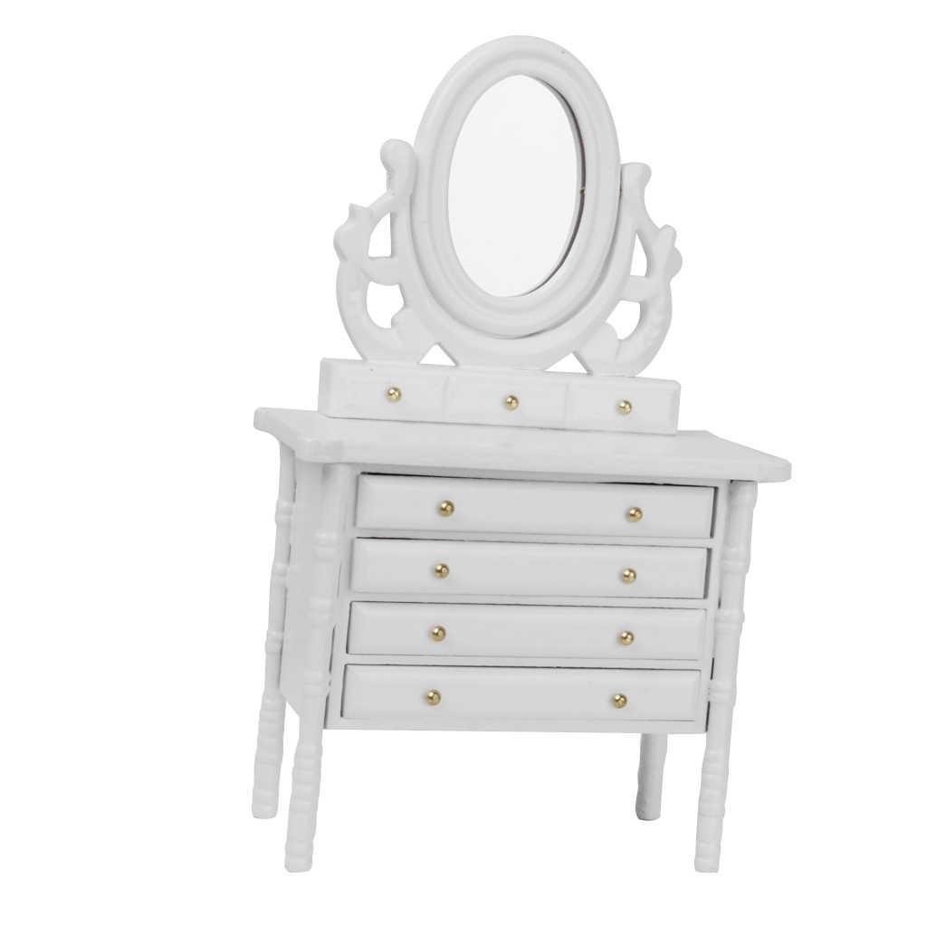Dollhouse Miniature 1:12 Scale Bedroom Furniture White Wooden Dressing Table Doll House Decor Accessory