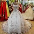 Vestido de Bola Vestidos de Novia 2017 vestidos de Novia Increíble de Fondo de Lujo Cristales V Cuello Rebordear Apliques Vestidos de Novia