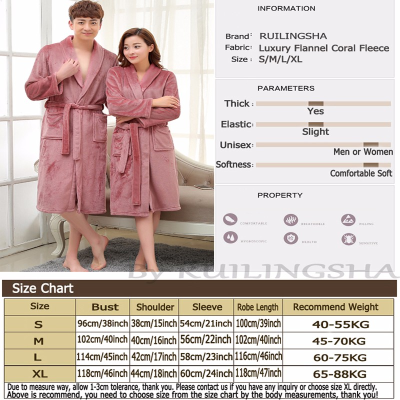 Flannel Coral Fleece Robe Size Chart 800-800