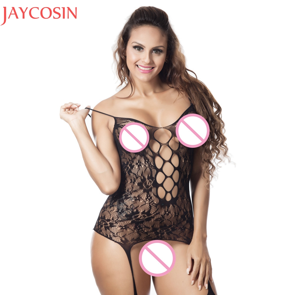 Buy Sexy Lingerie Women Transparent Fishnet Body Suit Erotic Ladies Hollow Sheer Open Crotch Body Stocking Bodysuit Costume Jan22