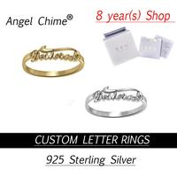 Custom Rings Angle Chime Brand Personalized Script Name Letter Ring Real 925 Sterling Silver