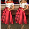 Vestidos Two Piece Lace Cocktail Dresses With Short Sleeves Off Shoulder Red White Sexy Satin Party Homecoming Dress Gown 2016