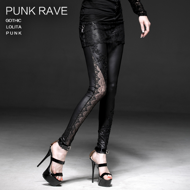 PUNK RAVE Gothic black sexy ankle-length asymmetric lace leggings K-185