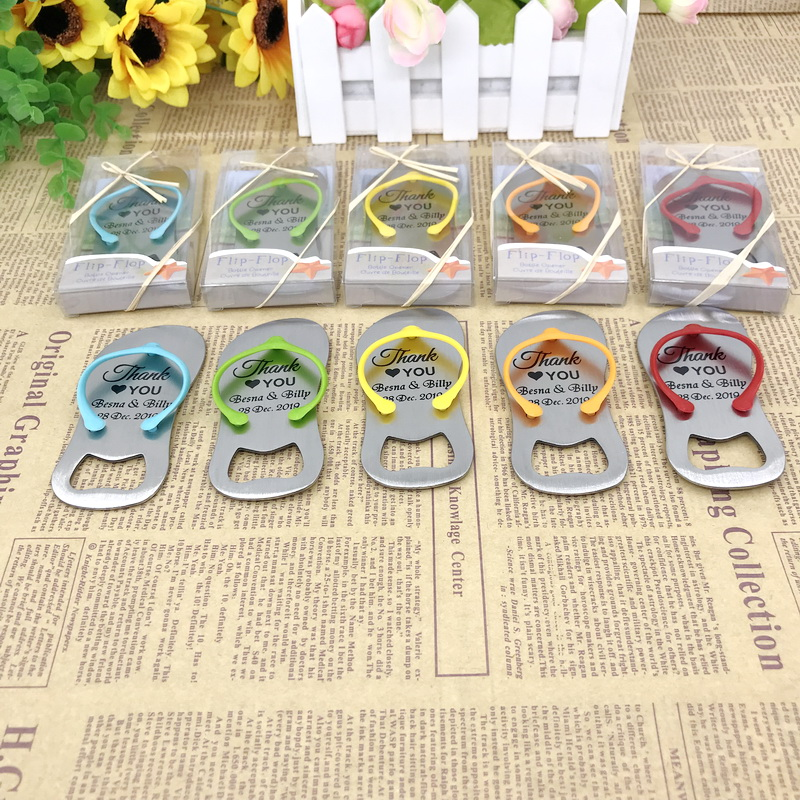 100pcs Lot FREE SHIPPING Customized Flip flop Wine Bottle Opener Beach Themed Wedding Favors Personalized