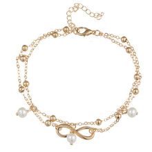 Summer Simple Double Layers Beaded Chain Anklets Imitation Pearl Anklets Jewelry Accessories M8694