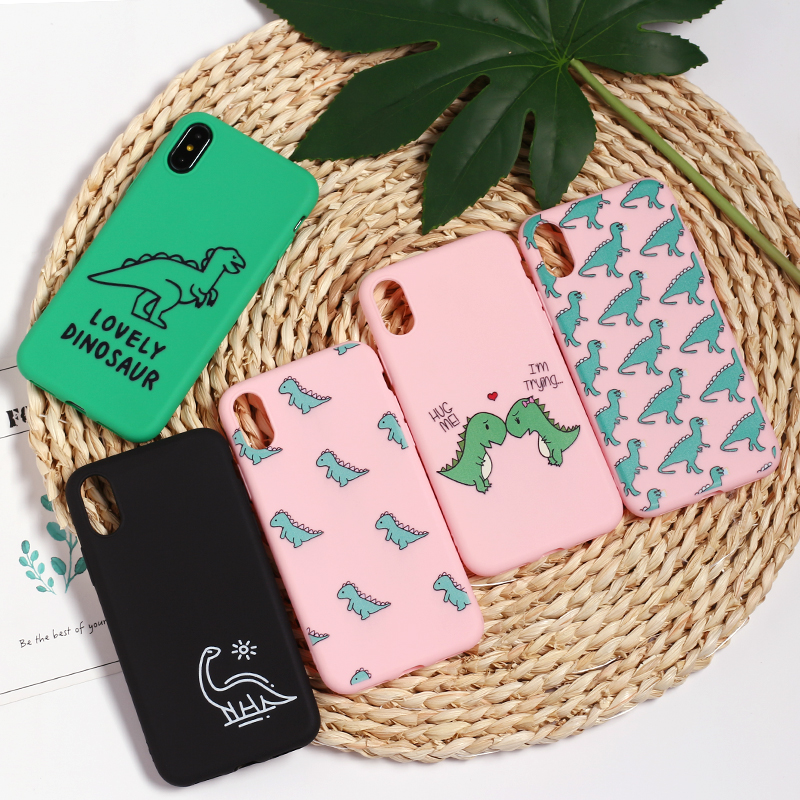 Cute Cartoon <font><b>Dinosaur</b></font> Patterned Silicone Frosted Matte Soft <font><b>Case</b></font> Fundas Capas Cover For <font><b>iPhone</b></font> 11 Pro 5 5SE <font><b>7</b></font> 7Plus 8 X XS Max image