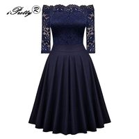 Elegant Sexy Off Shoulder Lace Half Sleeve Vintage Dress Women 2017 New Navy Blue Stitching Office