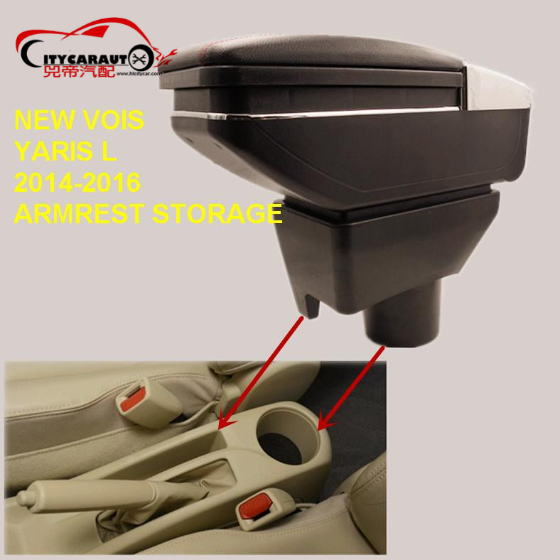 CITYCARAUTO USB FOR NEW VOIS YARIS L Car armrest box central Storage box with cup holder LED USB FOR NEW VOIS YARIS L 2014-16