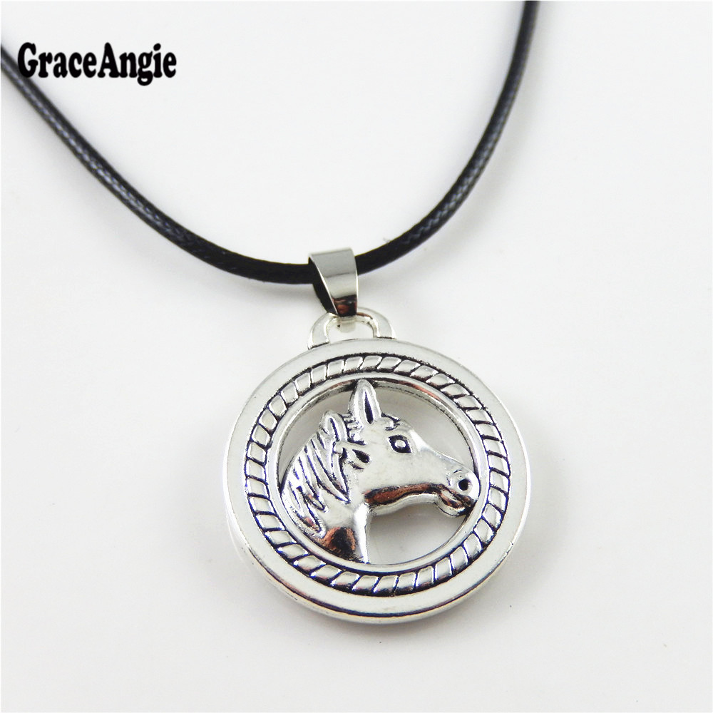 GraceAngie Small Round Horse Pendant Necklace Black Lobster Clasp Wax Leather Statement Necklace Design Jewelry Animal Stunning