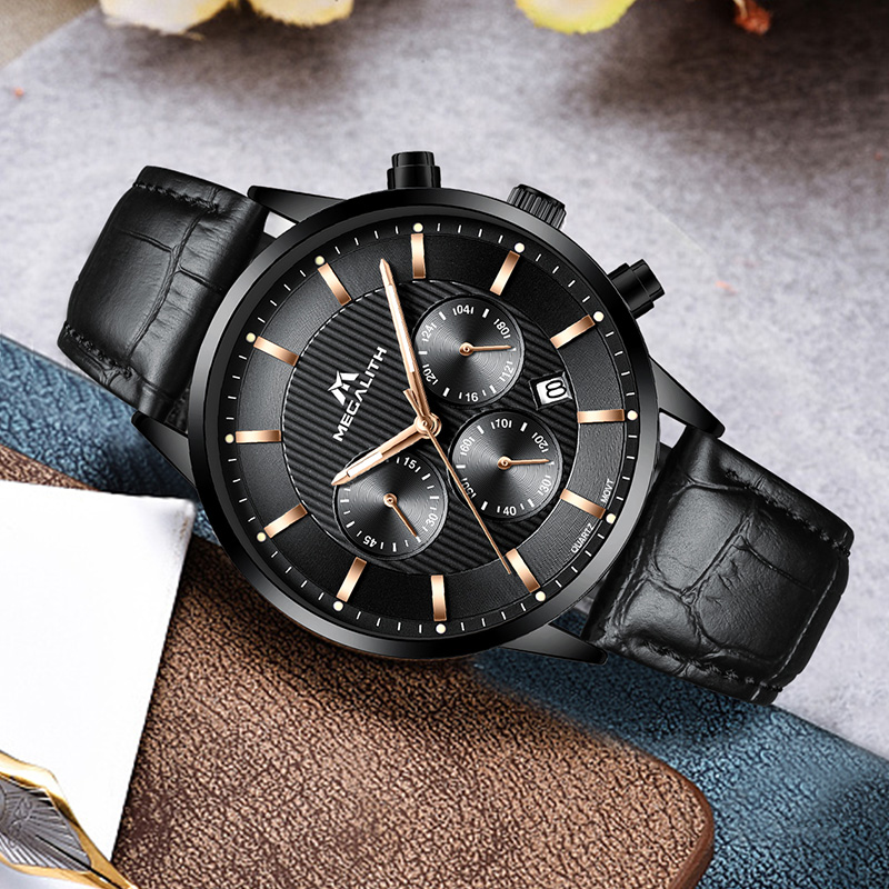 Image 3 - Megalith 腕時計メンズカジュアル防水クロノグラフアナログ腕時計本革クォーツ日付手首腕時計男 colck 8001クォーツ時計   -