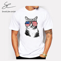 Fashion Fun American Flag Glasses Cool Cat Personality Pattern Men S Tee Tops Round Neck Short