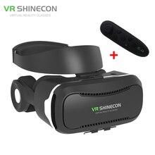 Nowy shinecon 4.0 kask virtual reality vr okulary 3d movie vrbox z słuchawek/sterowania przycisk dla 4-5.5 smartphone + kontroler
