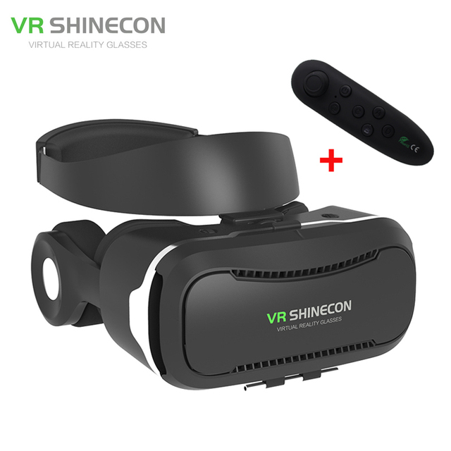 New VR Shinecon 4.0 Helmet Virtual Reality 3D Movie Glasses Vrbox with Headphone/Control Button For 4 -5.5 Smartphone+Controller